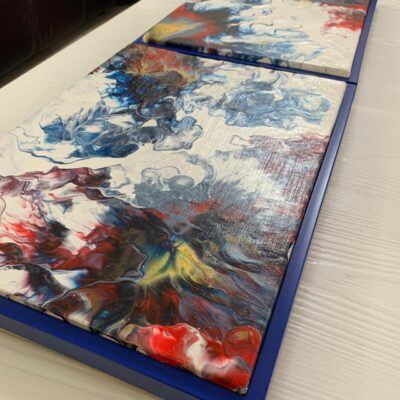 'Vibrant#1 & 2' Acrylic Painting on Canvas (set of 2)