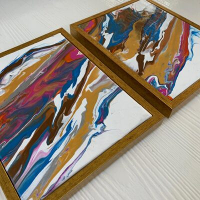 'Lava #1 & 2' Acrylic Painting on Canvas (Set of 2)