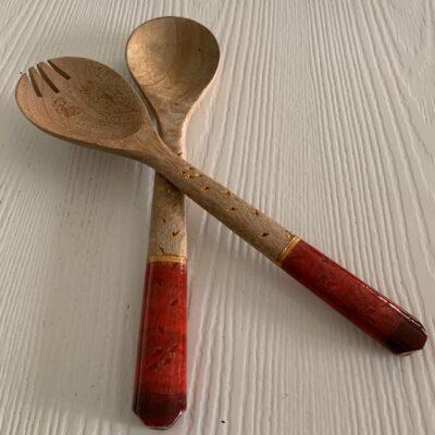 'Red' Fork & Spoon Wood Salad Servers