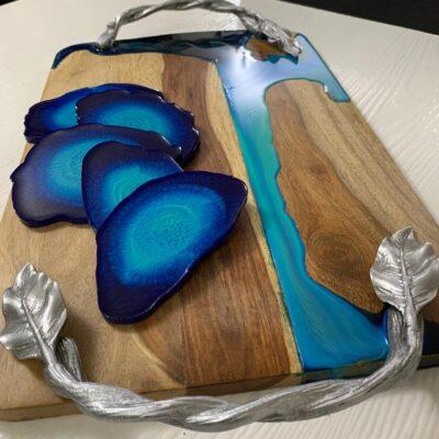 'Ocean' Wood Serving Tray & Resin Coasters (1 Tray + 5 coasters