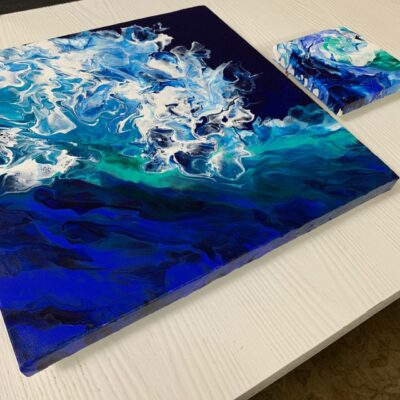 'Midnight Wave' Acrylic Painting on Stretched Canvas