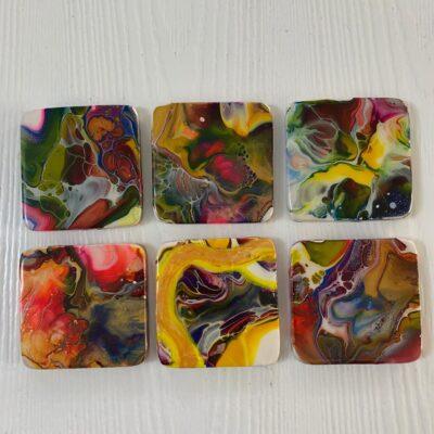 'Glam' Wood Coasters with Acrylic and Resin Finish (6 coaster set)