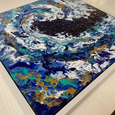 'Turbulence' Ocean Wave Painting on Stretched Canvas