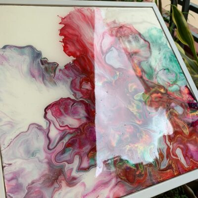 'Angel' Abstract Paintings on Canvas Board with Resin Finish (set of 3)