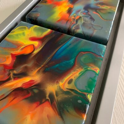 'Inferno' Abstract Acrylic Painting on Canvas with resin finish